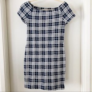 lush   blue & white plaid sheath mini dress, M